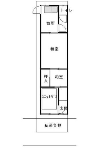 中古テラス 2K 土地面積:45.45m2 延床面積:28.26m2 西向き
