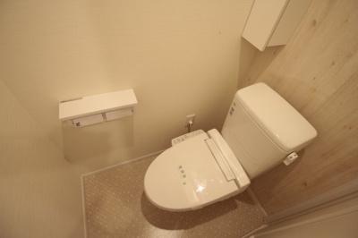 寒い冬も安心の温水洗浄便座♪ 収納もあります♪ ※写真は別号室です。
