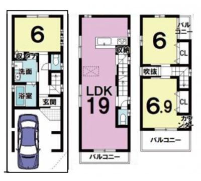 床暖房付きのリビングダイニング広々19帖! 全居室6帖以上・収納完備のゆったり3LDK、3面バルコニー!