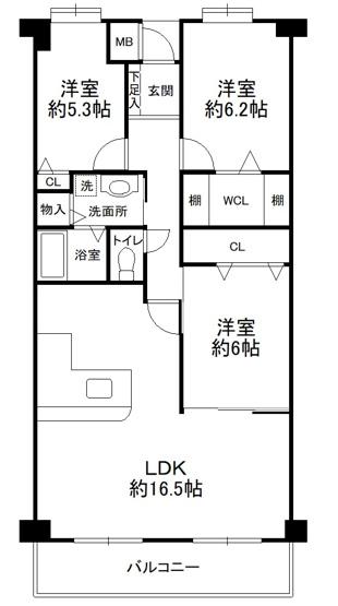 3LDK、価格2680万円、専有面積80.19m2、バルコニー面積8.28m2