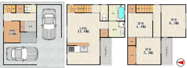 中古戸建て 3SLDK 土地面積:59.18平米(公簿)建物面積:99.45平米 南向き