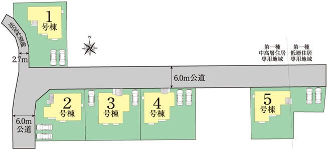 3号棟 区画図 北側接道幅員約6m