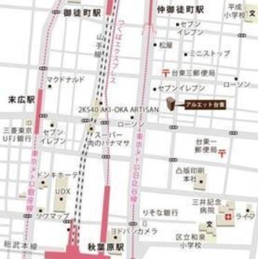【地図】アルエット台東