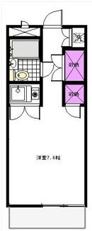 洋室7.6帖のワンルームです。グレースKⅡ