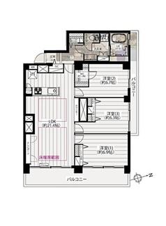 最上階で角部屋、ワイドスパンのバルコニーが嬉しい3LDKのお住まいです。