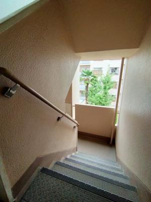 廊下、階段部分です。築年数は経過していますが、お手入れがなされた清潔なマンションです。