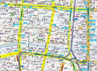 【地図】プレサンス西心斎橋