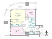 2LDK、価格5080万円、専有面積64.7m2、バルコニー面積28.35m2 2LDK 北西角部屋