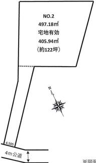 【土地図】川越市笠幡 建築条件なし売地 「笠幡駅」徒歩20分 敷地122坪 【霞ケ関西小学区】