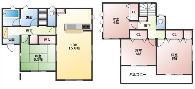 対面キッチンの4LDK。和室も6畳で使いやすい間取りです。