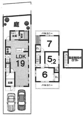 Cプラン: 建物1,399万円、 建築面積85.86㎡(1F:46.98㎡、2F:38.88㎡) 3LDK、木造2階建、駐車場2台、 建築確認申請費用60万円別途要(税別)