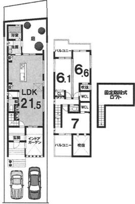 戸建プラン: 建物1,599万円、 建築面積94.37㎡(1F:51.03㎡、2F:43.34㎡)、 木造2階建、3LDK、駐車場2台、 建築確認申請費用60万円別途要(別途)
