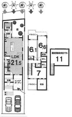 プランA: 建物1499万円、 建築面積94.37㎡(1F:51.03㎡、2F:43.34㎡) 木造2階建て、3LDK、駐車場2台、 建築確認申請費用66万円別途要(税別)