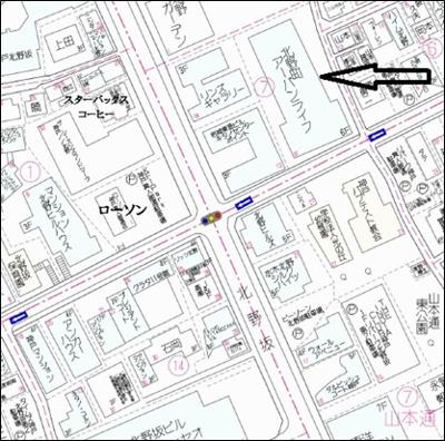 【地図】北野町アーバンライフ