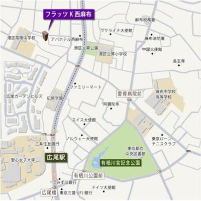 【地図】フラッツK西麻布