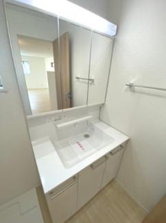 三面鏡鏡、シャワー付洗面台です。収納もたっぷりできます。