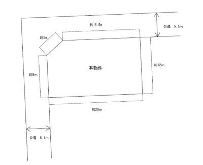 【区画図】米沢市通町3丁目 2階建て中古物件