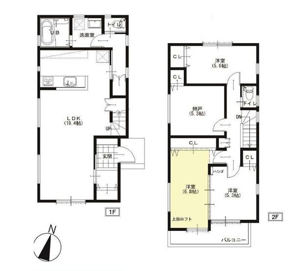 土地面積135.73平米 建物面積111.13平米 4LDK! 各室収納付きの使い勝手の良い間取りです!