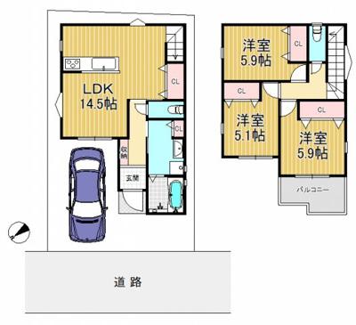 参考プラン(2階建 延床81.40m2 建物参考価格1650万円)全居室収納付きの3LDK