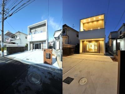クロワールで新築のご用命承ります 当社施工例 ダウンライトを効果的に配置した明るい外観