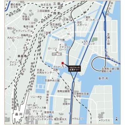 【地図】ベルファース芝浦タワー