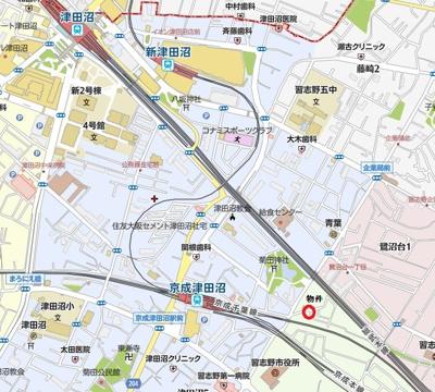【地図】ボヌール・マ・メゾン津田沼