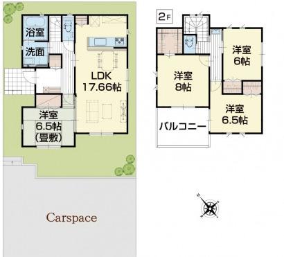 4号棟 4LDK+SIC+パントリー+WIC 17帖のリビングと6.5帖の和室で広々過ごせます。