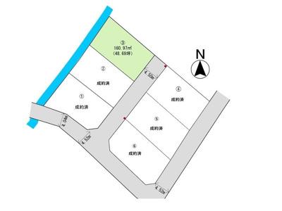 区画図になります。団地側東側の道路も利用可能です。