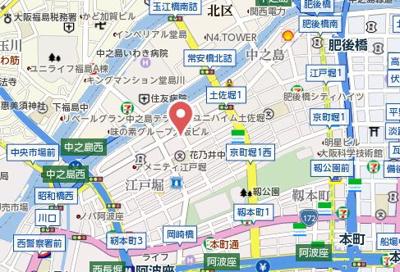 【地図】エスポアール江戸堀