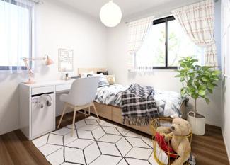 子供部屋の窓は大きく、開放感の空間で明るい居室になっています。