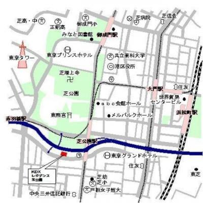 【地図】KDXレジデンス芝公園