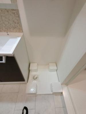 防水パン付洗濯機置き場です。