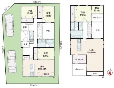 【土地図+建物プラン例】打出小槌町Ⅱ 3号地