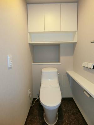 落ち着いたトイレです。収納もあります。