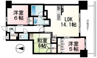 南向き3LDKのお部屋です。