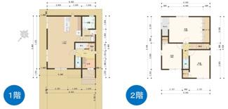 3LDKの間取り、1階リビングは18帖の広々とした空間です。