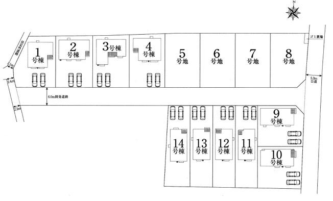 【区画図】太田市亀岡町 1号棟