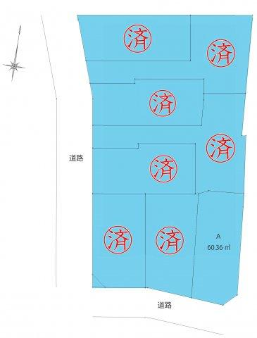 A区画間取り、土地面積:60.36㎡、建物面積:90.72㎡