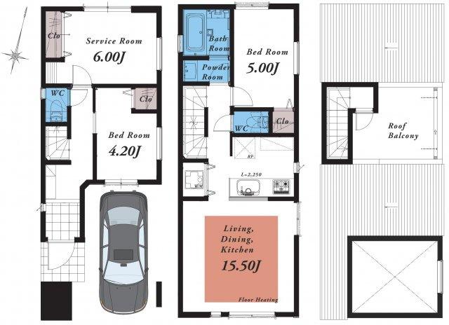 D区画間取り、土地面積:60.04㎡、建物面積:96.58㎡