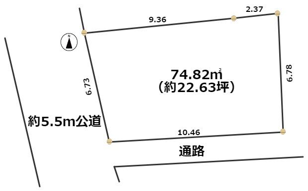 敷地面積 74.82㎡(22.63坪)