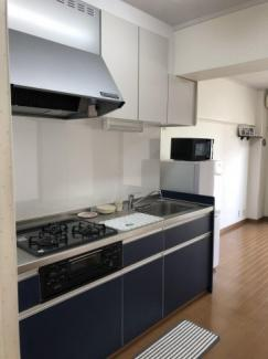 吊戸棚のあるシステムキッチンは周能スペースも豊富。天板を広く使えます。