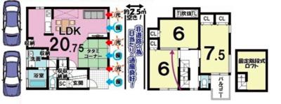 戸建プラン: 建物1,399万円、 建築面積93.55㎡(1F50.22㎡、2F:43.33㎡)、 3LDK、木造2階建、駐車場2台、 建築確認申請費用60万円別途要(税別)