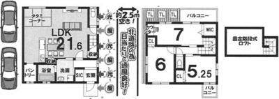 プラン2: 建物1,399万円、 建築面積90.96㎡(1F:51.48㎡、2F:39.48㎡)、 3LDK、木造2階建、駐車場2台、 建築確認申請費用60万円別途要(税別)