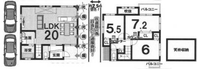 Cプラン: 建物1,349万円、 建築面積85.86㎡(1F:45.36㎡、2F:40.50㎡)、 3LDK、木造2階建、駐車場2台、 建築確認申請費用66万円別途要(税別)
