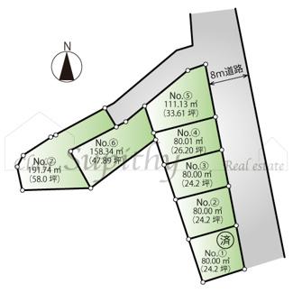 【土地図】売地 南湖1丁目 建築条件なし!