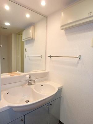 大きな鏡が備わった収納豊富な洗面所です。