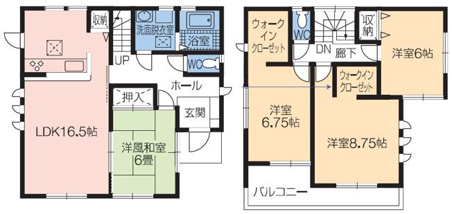 全居室6帖以上でゆったりした間取りです。全居室収納もあり収納充実しています。