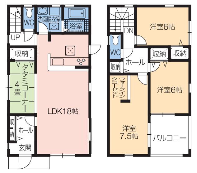 全居室6帖以上のゆったりとした間取りです。水廻りが集中していて家事動線のよいお家です。