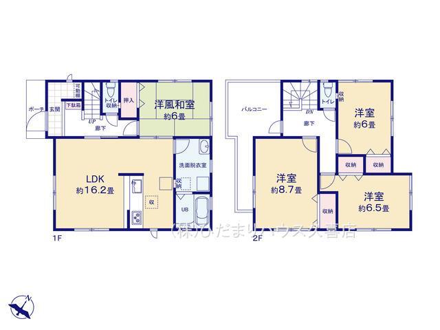 主寝室8.7帖!リビング横の和室は客間にも。