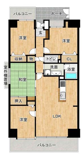 中古マンション 4LDK  専有面積:86.88平米(壁芯) バルコニー面積:14.43平米 南向き